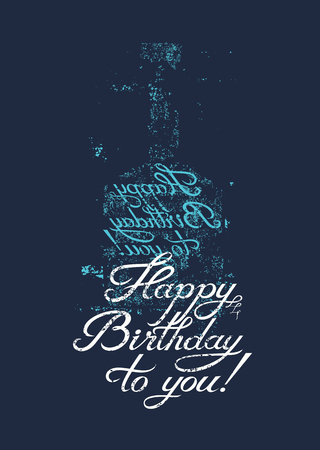 Happy Birthday to you! Typographical retro grunge Birthday Card. Vector illustration. Vectores