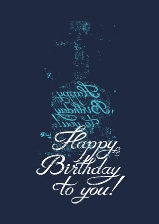 Ik wens je een gelukkige verjaardag! Typografische retro grunge verjaardagskaart. Vector illustratie. Stock Illustratie