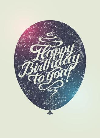 curves: ¡Feliz cumpleaños! Tarjeta de cumpleaños del grunge retro tipográfico. Ilustración del vector.