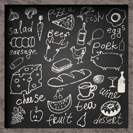 Set of hand-drawn food on chalkboard. Restaurant food menu design. Vector illustration. Vectores