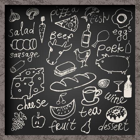 Set van handgetekend voedsel op bord. Restaurant eten menu ontwerp. Vector illustratie. Stock Illustratie
