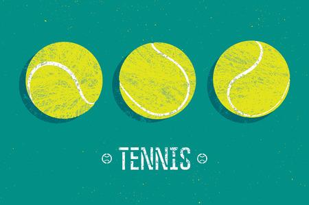 TENIS: Tenis cartel del estilo del grunge de la vendimia. Ilustración vectorial retro con pelotas de tenis.
