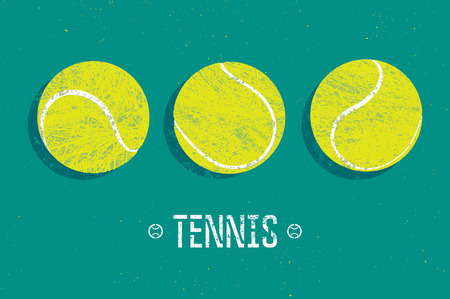 tennis ball: Tennis vintage grunge style poster. Retro vector illustration with tennis balls.