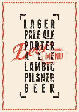 Beer menu design. Vintage grunge style beer poster. Vector illustration.