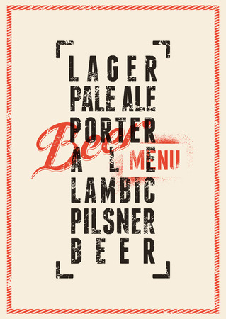 Bier menu design. Vintage grunge stijl bier poster. Vector illustratie. Stock Illustratie