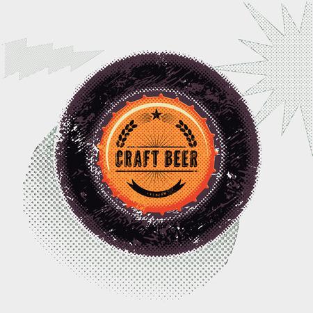 vin: Vintage grunge style beer poster. Bottle top. Craft beer label. Vector illustration.