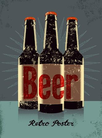 Uitstekende affiche grunge stijl met een bierflesjes. Retro vector illustratie.