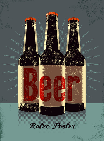 Vintage grunge style poster with a beer bottles. Retro vector illustration. Иллюстрация