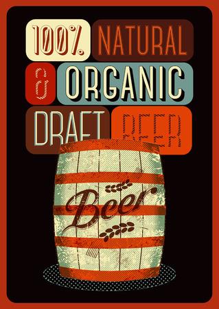 affiche van het bier in retro stijl met een houten vat bier met label. Vector illustratie.