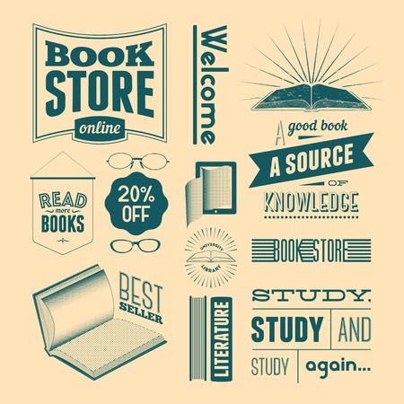 bookshop: Typography vector set of vintage design elements for bookstore or library without grunge effect. Illustration
