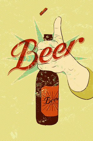 Vintage grunge style beer poster. Hand hold a bottle of beer. Retro vector illustration.