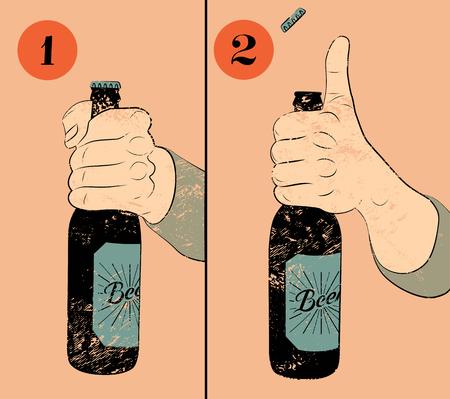 Vintage grunge stijl bier poster. Humoristische poster instructie voor het openen van een fles bier. Hand houdt een fles bier. Vector illustratie.