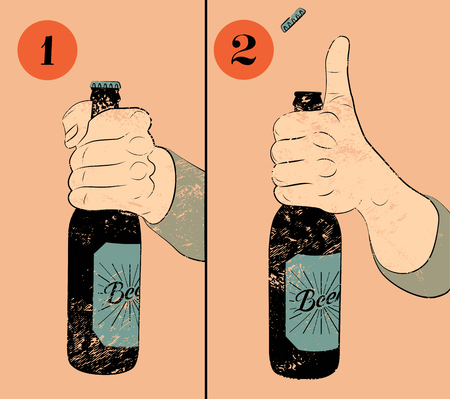 instruction: Vintage grunge style beer poster. Humorous poster instruction for opening the a bottle of beer. Hand hold a bottle of beer. Vector illustration.
