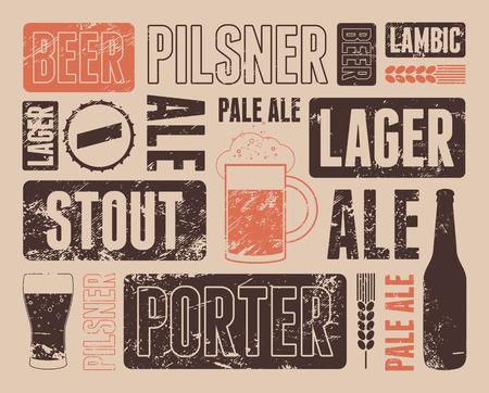 zeichnen: Typografische Retro-Grunge-Bierplakat. Vektor-Illustration.