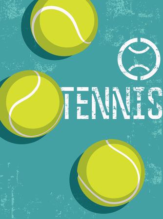 Tennis vintage grunge stijl poster. Retro vector illustratie met tennisballen.