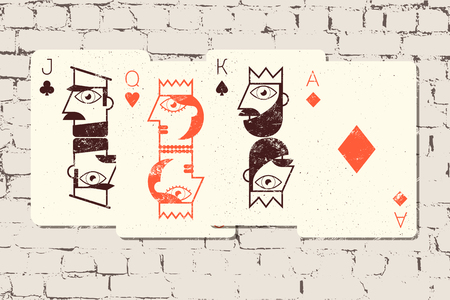 ace of spades: Jack, Queen, King and Ace. Stylized playing cards in grunge style on the brick wall background. Vector illustration.
