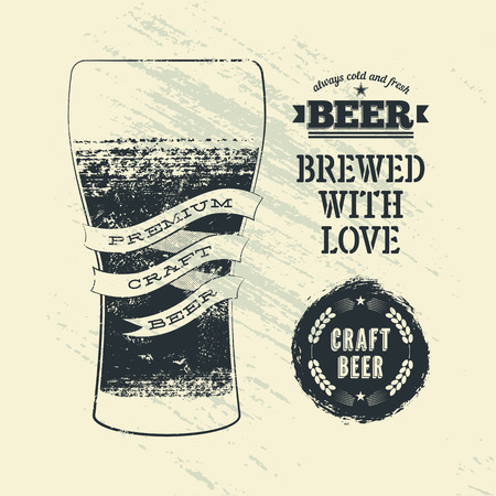 beer label design: Typography vintage grunge style beer poster with glass of beer. Vector illustration.