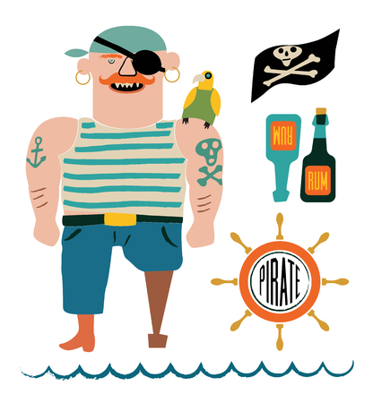 alcohol bottles: Cartoon pirate vector set. Pirate with a parrot on shoulder, flag with skull and bones, bottles of rum and steering wheel.