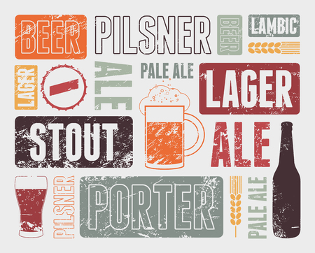 Typographic retro grunge beer poster. Vector illustration.