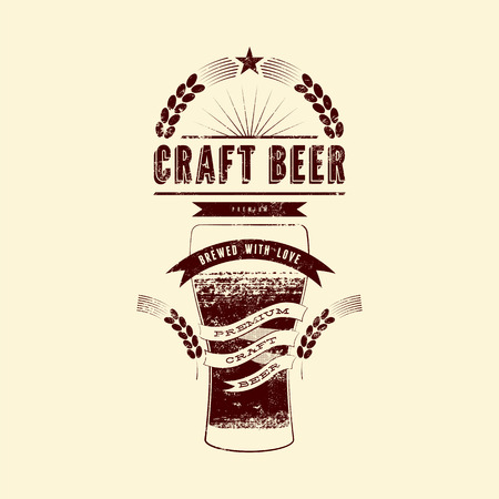 Craft beer label. Vintage grunge style beer poster. Vector illustration. Vectores
