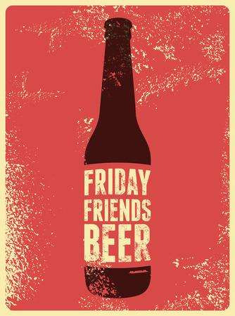 Typographic poster retrò grunge birra. Illustrazione vettoriale. Archivio Fotografico - 45483095