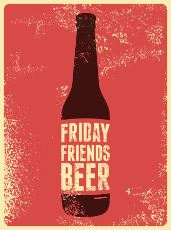 grunge bottle: Typographic retro grunge beer poster. Vector illustration.