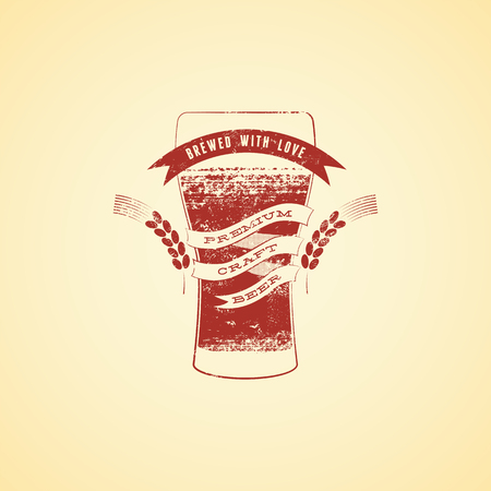 banner craft: Vintage grunge style beer poster. Banner with glass of beer. Vector illustration.