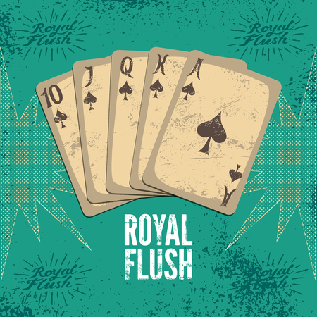 royal flush: Vintage grunge style casino poster with playing cards. Royal flush in spades. Retro vector illustration.