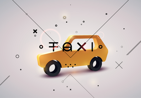 taxi: Taxi typographic modern poster with isometric taxi cab. Vector illustration. Illustration