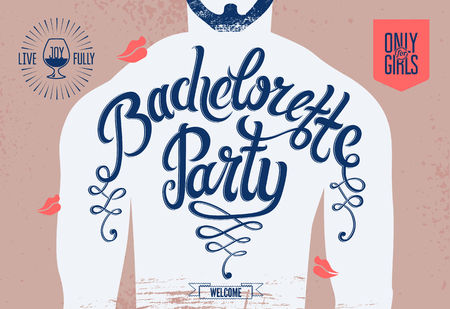 bachelorette party: Calligraphic poster for bachelorette party with a tattoo on a mans body. Vector illustration.