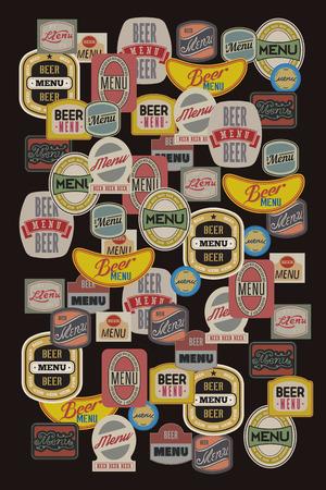 Bier menu ontwerp met retro bieretiketten. Vector illustratie. Stock Illustratie