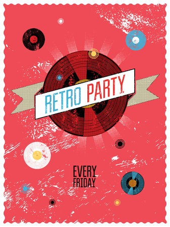 retro party: Retro party poster design. Vector illustration.