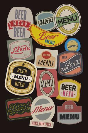 vin: Beer menu design with retro beer labels. Vector illustration.