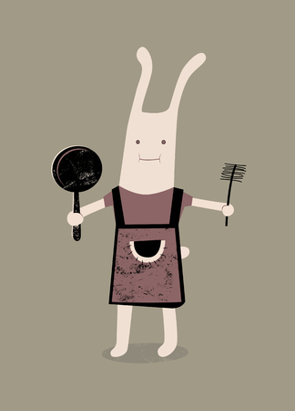 tender: Cartoon rabbit with a frying pan and brush in hand. Vector illustration. Illustration