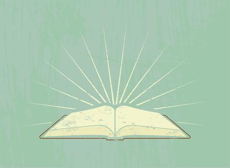 leer biblia: Libro abierto con los rayos. Cartel de la vendimia en el estilo grunge. Ilustraci�n del vector.
