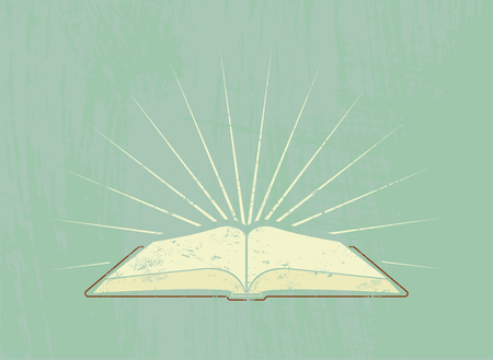 Open book with rays. Vintage poster in grunge style. Vector illustration. Ilustracja