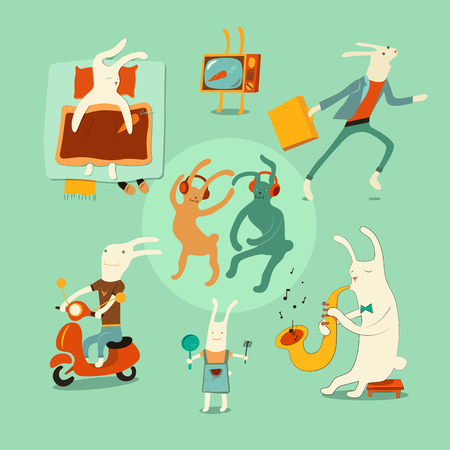 situations: Set of funny cartoon rabbits in different situations. Vector illustration.