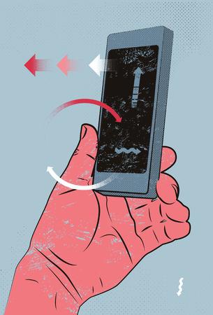 hand holding smart phone: Vector illustration in retro style with hand holding smart phone, touching screen.