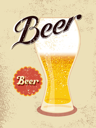 banner craft: Vintage style poster with a beer glass. Vector illustration. Illustration