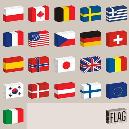 world flags: Vector set of world flags. Flags-boxes.