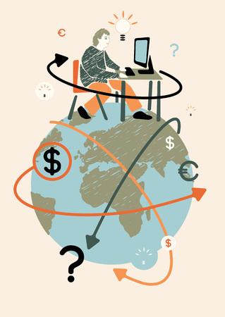 freelancer: Freelancer and world. Concept vector illustration. Illustration