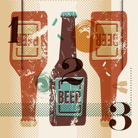 cerveza: Cartel del estilo grunge de la vendimia con unas botellas de cerveza. Ilustración vectorial retro.