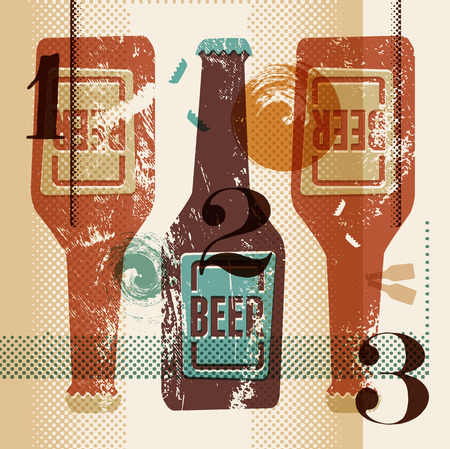 Vintage grunge style poster with a beer bottles. Retro vector illustration. Illustration