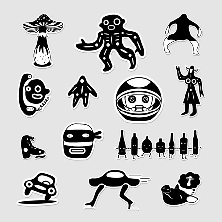 illustration cool: Vector set of crazy bizarre black and white stickers.