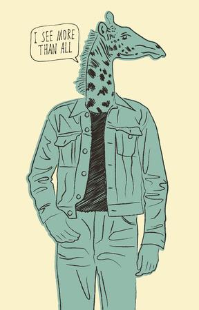 arrogant: Hand drawn giraffe-man. Vector illustration. Illustration