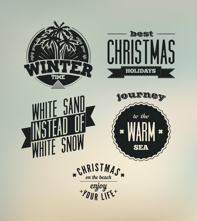 christmas time: Christmas on the beach. Set of vector typography designs.