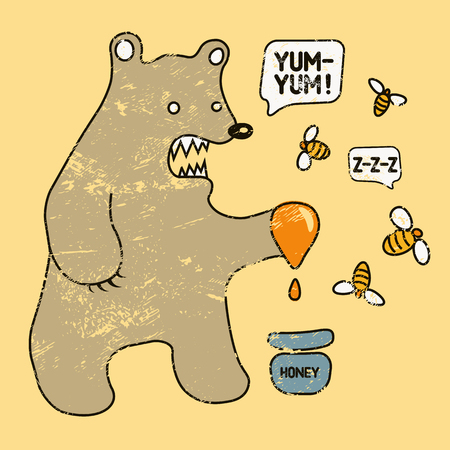 Cartoon retro funny bear with honey and bees. Vector grunge illustration.