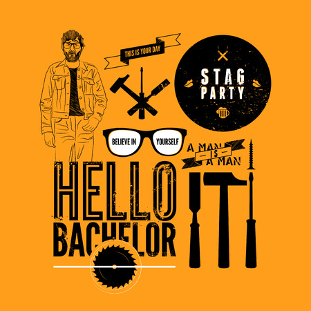 stag party: Set of grunge design element for stag party. Vector illustration.