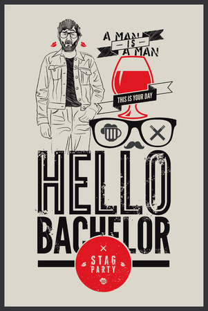 stag party: Poster for stag party Hello Bachelor! Vector illustration.