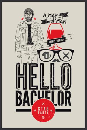 """Poster per stag party """"Ciao Bachelor!"""" Illustrazione vettoriale."""